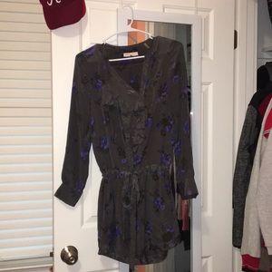 Rebecca Taylor Floral Satin Tie Waist Dress